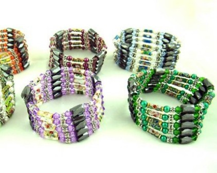 Metallic colored bead magnetic bracelets